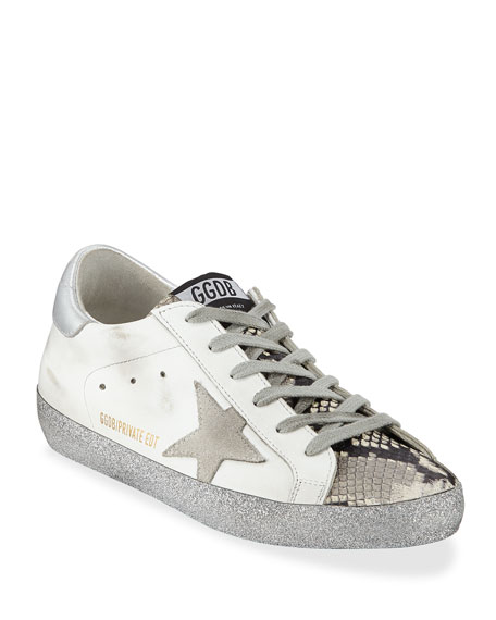 Golden Goose Superstar Snake-Print and Glitter Sneakers