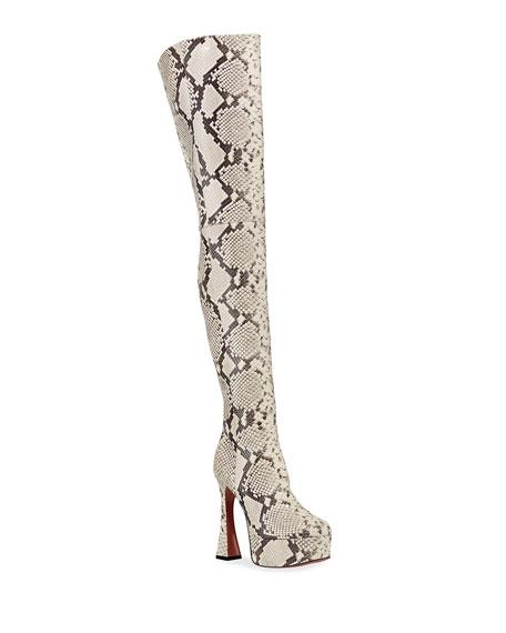 Amina Muaddi Dua Snake-Print Thigh-High Boots