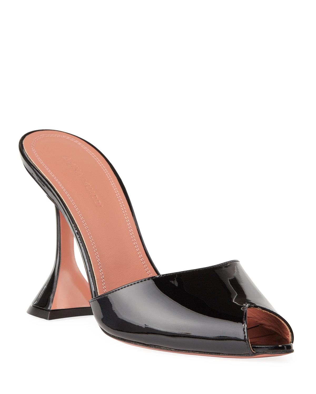 Amina Muaddi Slippers TINA SLIDE PATENT PEEP-TOE SLIPPERS
