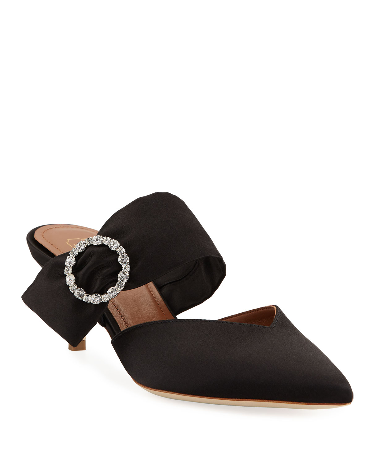 Maite Crystal-Buckle Satin Point-Toe Mules