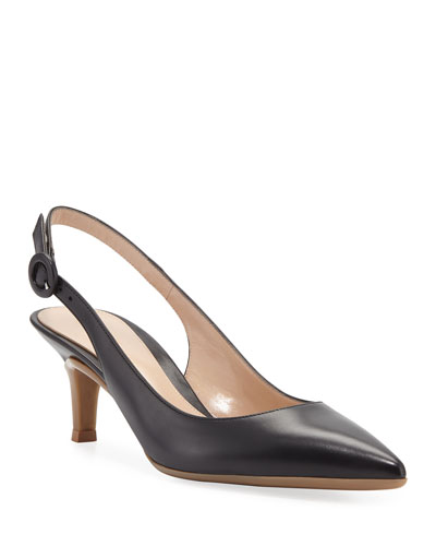 Leather Slingback Pointed Pumps
