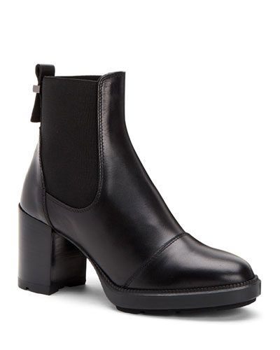 Ivory Leather Ankle Boots with Rubber Platform