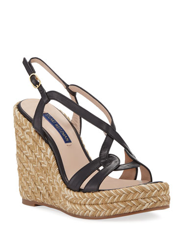 Coquille Leather Wedge Espadrilles