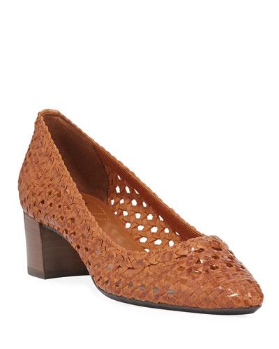 Pasha Woven Leather Block-Heel Pumps