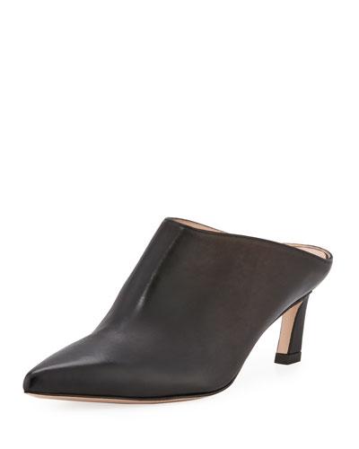 Mira Kitten-Heel Leather Mule