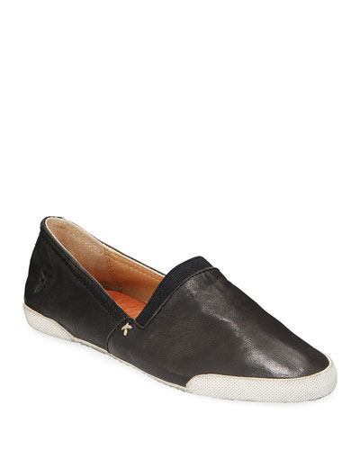 Melanie Antiqued Leather Slip-On Sneakers