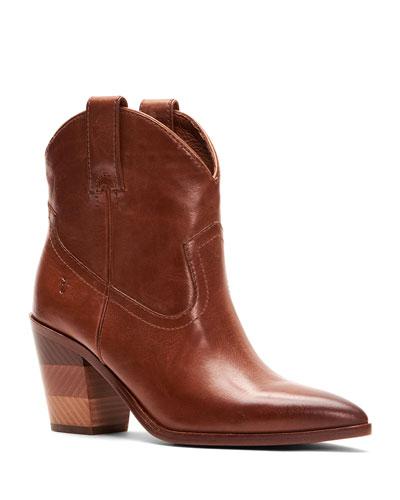 Faye Short Waxy Leather Cowboy Boots with Chevron Heel