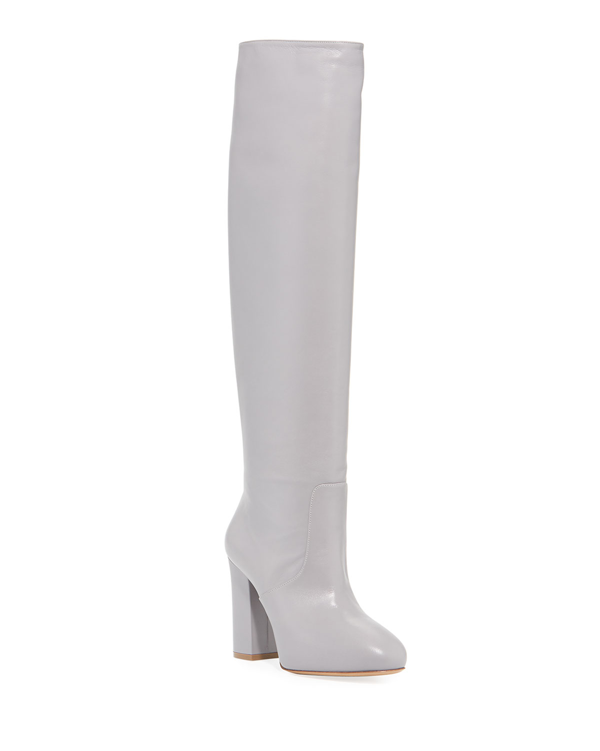 Chunky To-The-Knee Leather Boots