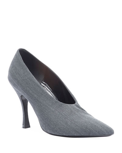 Pinstripe Wool Pumps