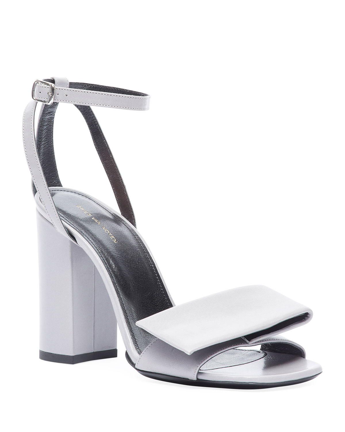 Origami Bow Chunky-Heel Sandals