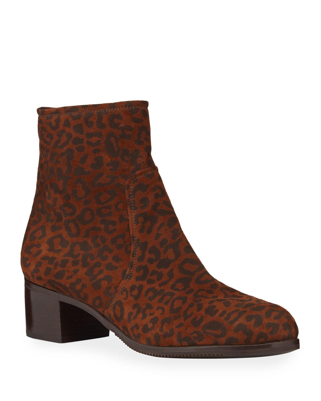 Leopard-Print Suede Zip Booties