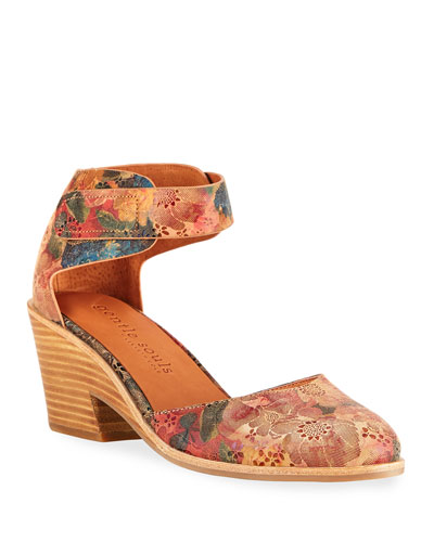 Blaise Floral Printed Leather Wedge Pumps