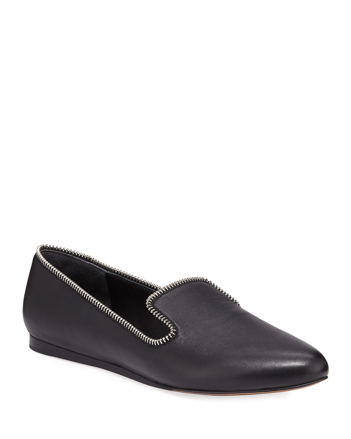 Griffin Flat Leather Loafers with Zipper Detail