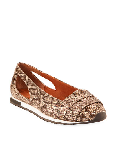 Luca Snake-Print Leather Comfort Flats