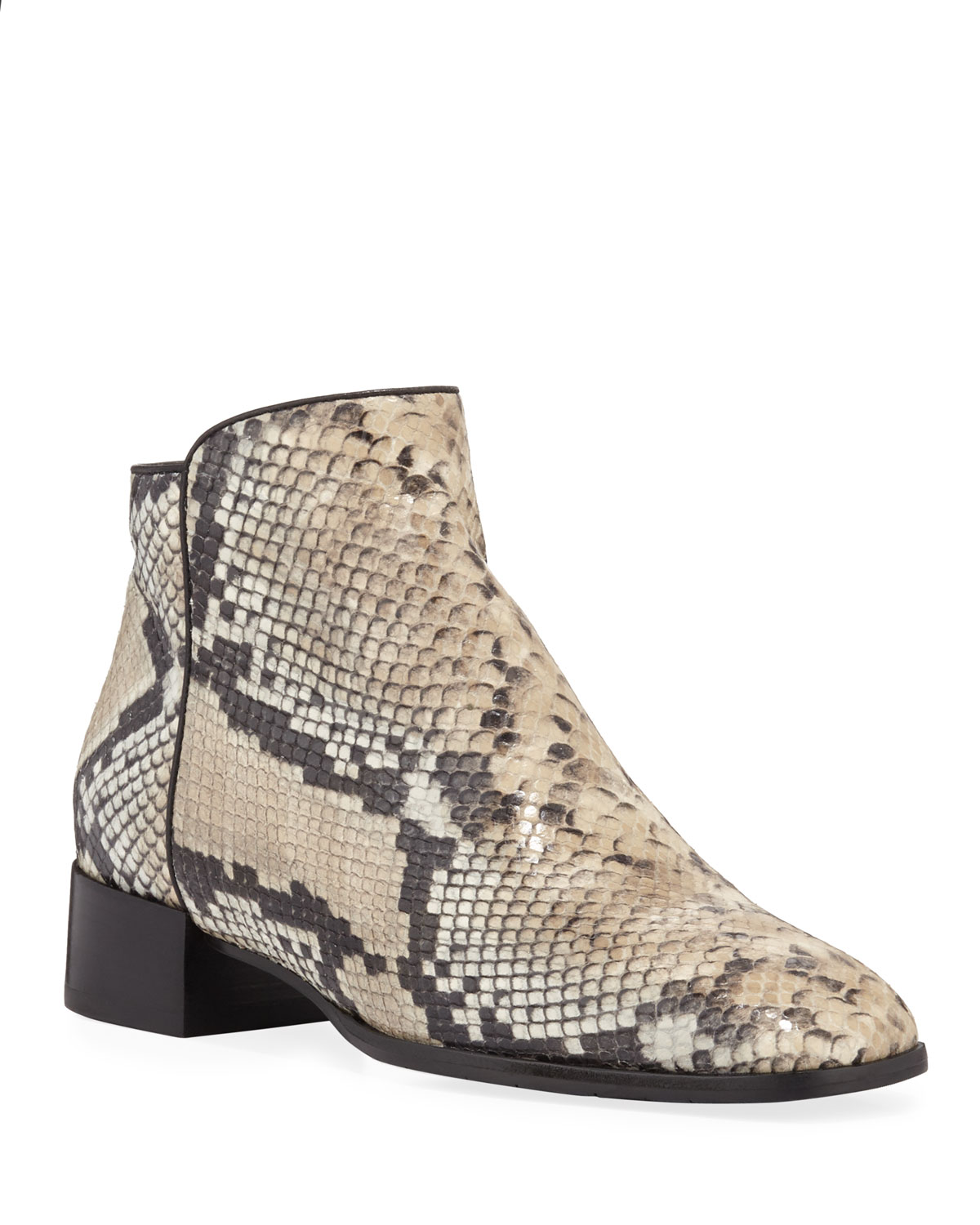 Lucile Snake-Print Leather Booties
