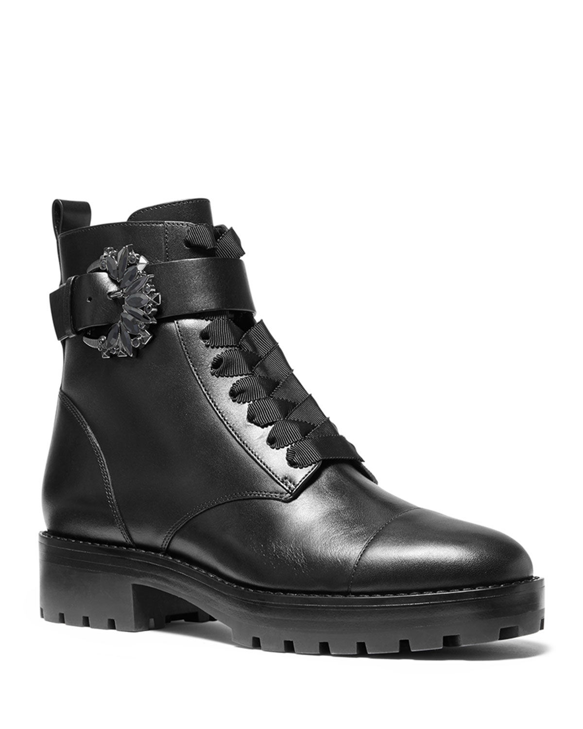 Michael Michael Kors Boots FRIEDA LEATHER LACE-UP COMBAT BOOTIES