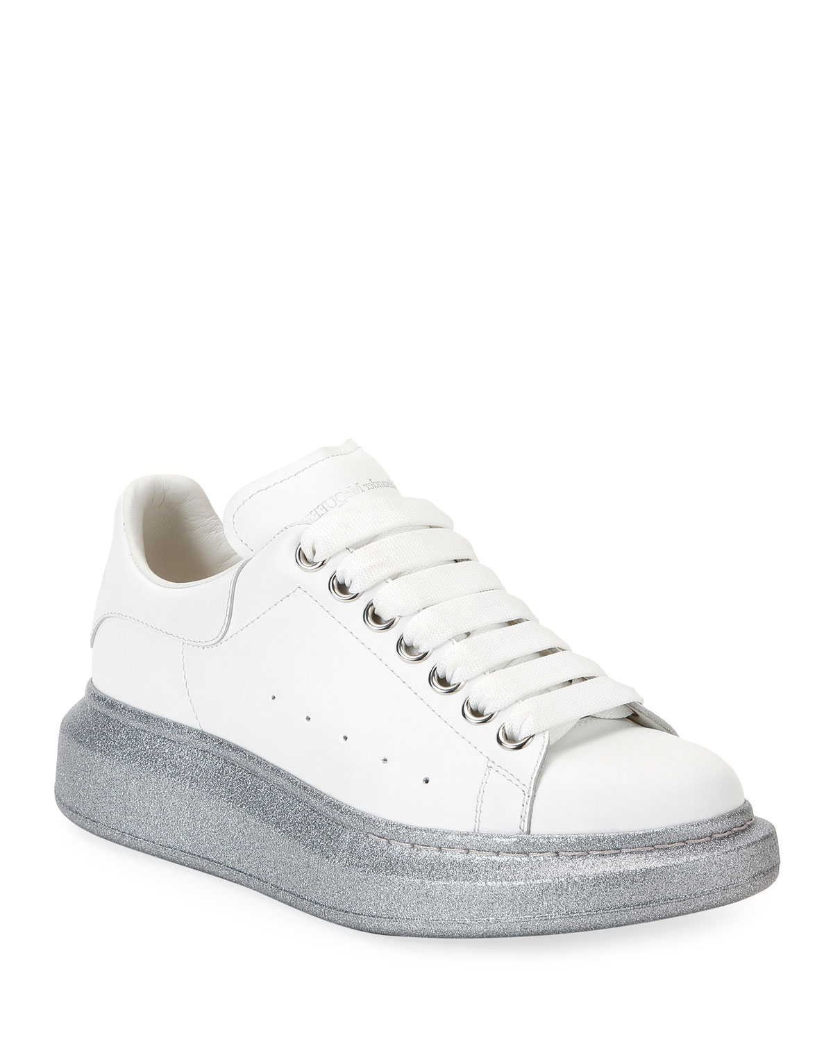 Leather Sneakers with Glitter Sole