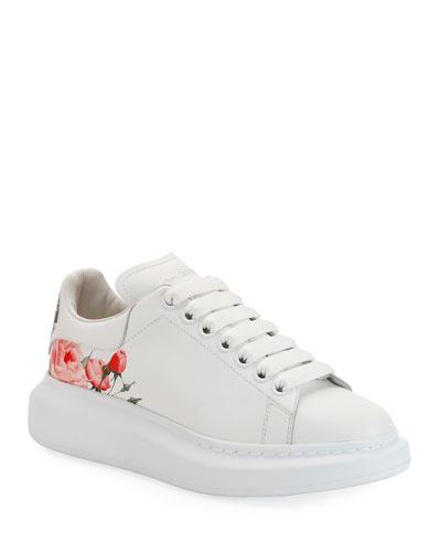 Larry Rose-Printed Leather Platform Sneakers