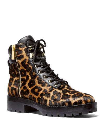 Rosario Cheetah-Print Fur Combat Booties