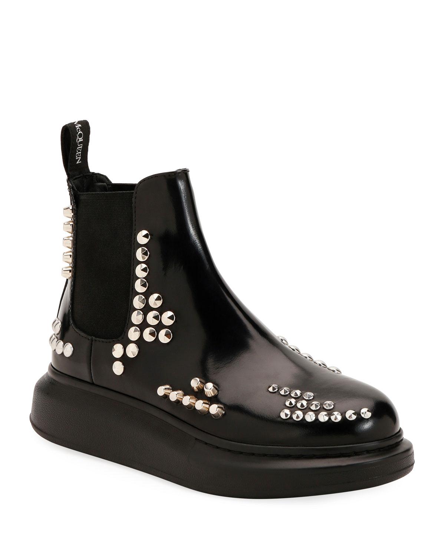 Studded Leather Platform Boots
