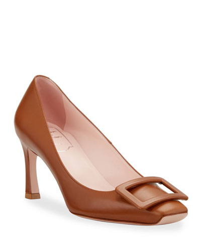 Trompette Covered Buckle Pumps, Brown