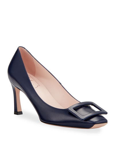 Trompette Covered Buckle Pumps, Navy