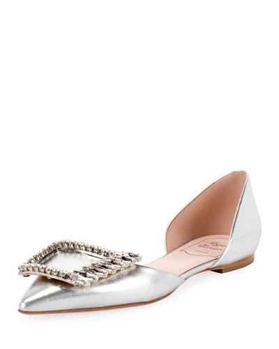 Wings Buckle Metallic Ballet Flats, Silver