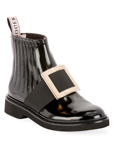 Patent Leather Pilgrim Buckle Booties