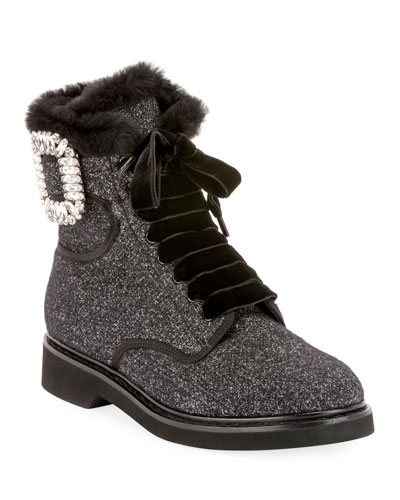 Viv' Rangers Wool & Shearling Fur Crystal Buckle Booties