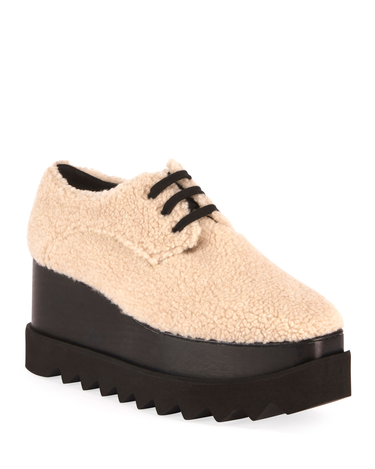 Elyse Lace-Up Faux-Shearling Sneakers