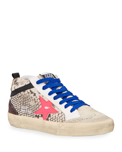 Mid Star Python-Print Wing-Tip Sneakers