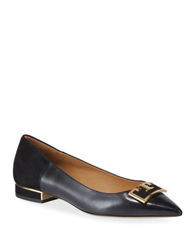 Gigi Leather/Suede Pointy Ballerina Flats