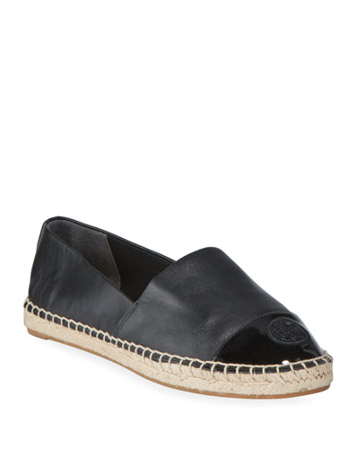 Mixed Leather Flat Espadrilles