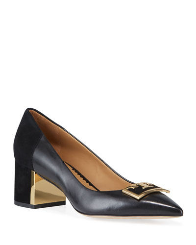 Gigi Leather/Suede Pointy Pumps