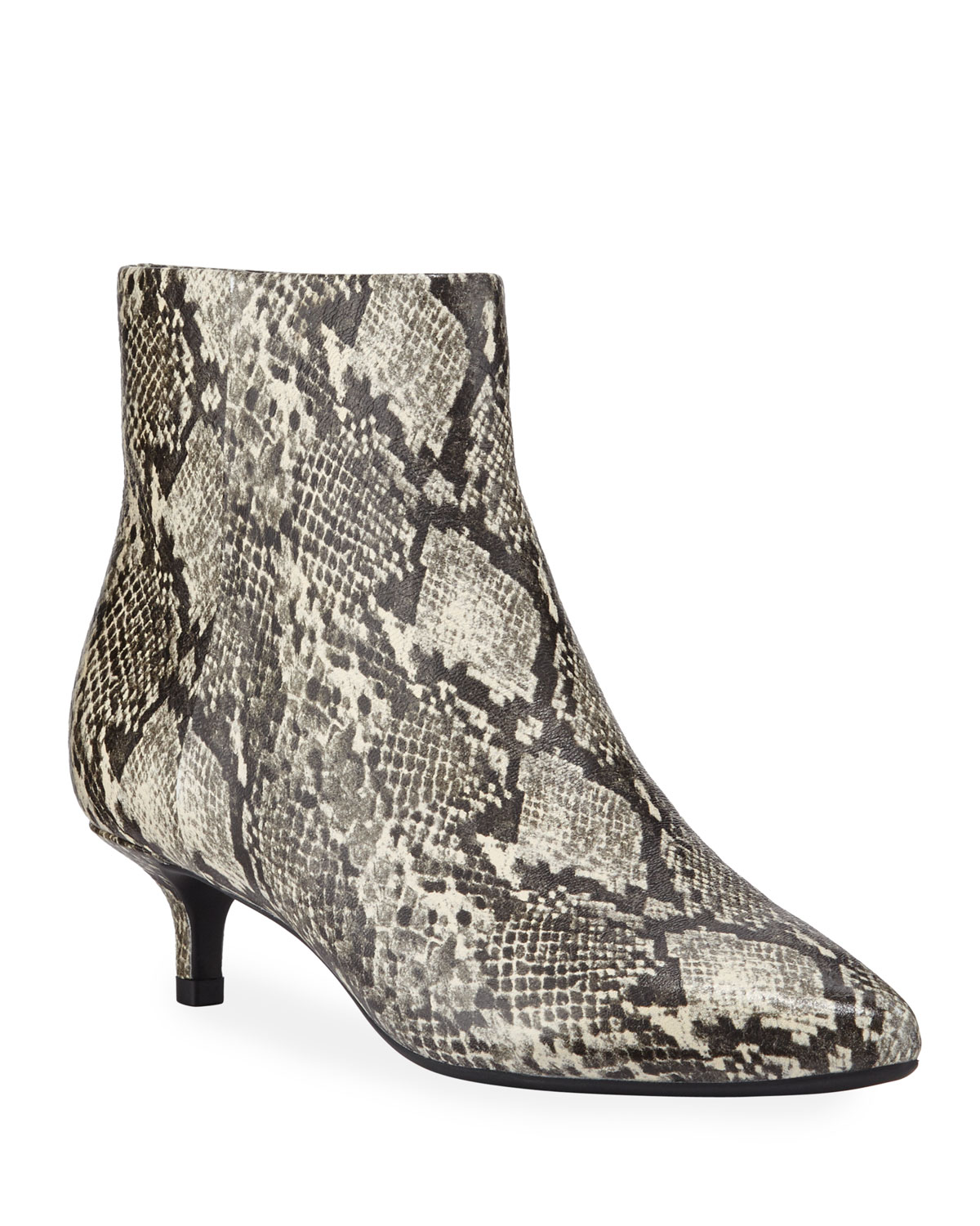 Nelli Snake-Printed Leather Ankle Booties