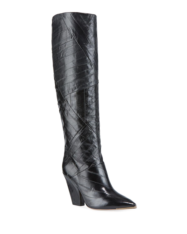 Lila Eel-Leather Knee Boots