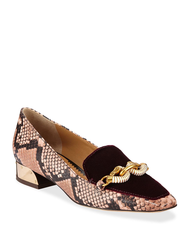 Jessa Snake-Print Loafers