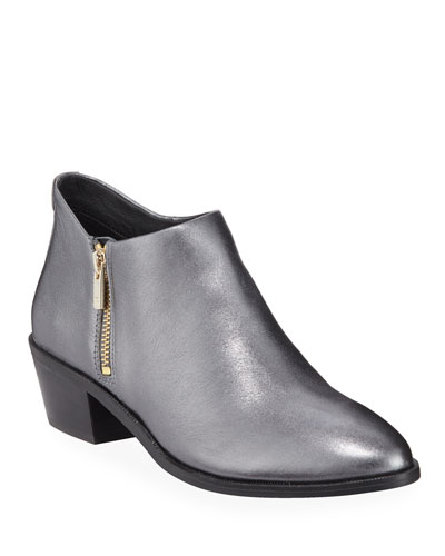 Sara Metallic Leather Ankle Booties