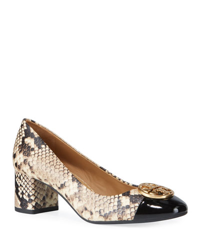 Chelsea Snake-Print Medallion Pumps