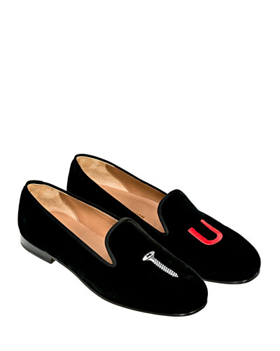 College Embroidered Velvet Slippers