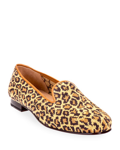 Jane True Needlepoint Cheetah Slippers