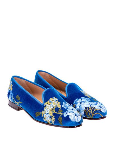 Hydrangeas Velvet Slippers