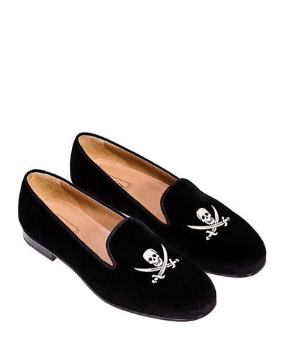 Skull Velvet Slippers