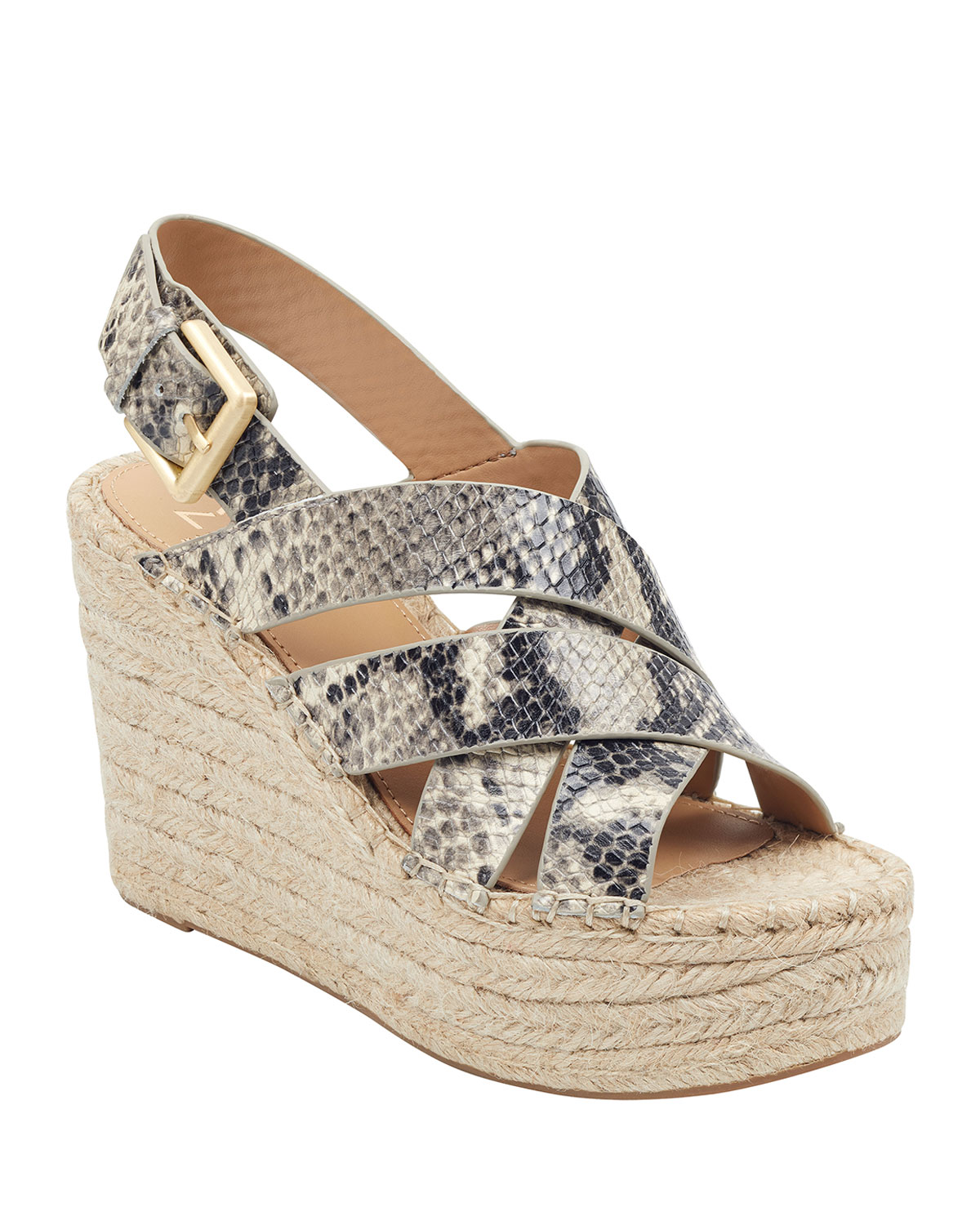 Alenni Snake-Print Wedge Sandals