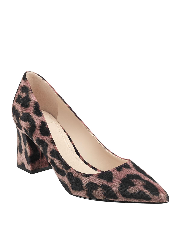 Leo Chunky-Heel Leopard Pumps