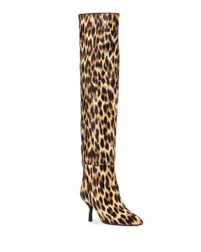 Millie Leopard-Print Suede Thigh High Boots