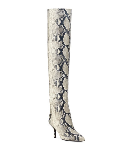 Millie Over-The-Knee Python-Print Boots