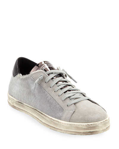 John Calf Hair Low-Top Sneakers