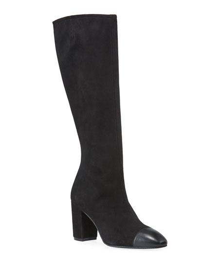 Stuart Weitzman Jacinda Suede & Napa Leather Knee Boots