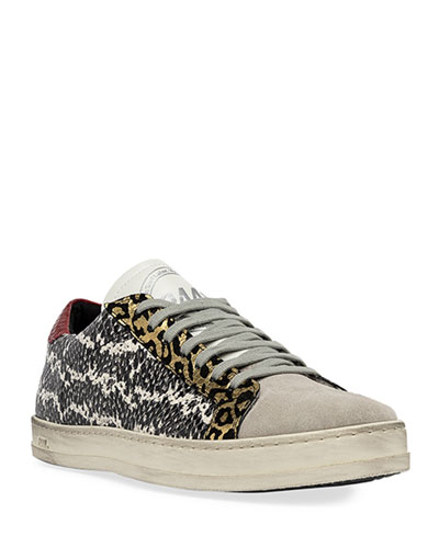 John Snake-Print Low-Top Sneakers